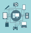 Technology connections concept idea in flat style vector image