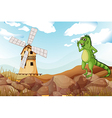 A smiling lizard across the wooden barnhouse with vector image