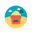 Sand Bucket and Shovel flat icon with long shadow vector image