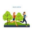 healthy lifestyle athletics jogging on street vector image