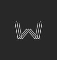 Modern letter W monogram logo mockup business card vector image