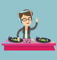 young caucasian dj mixing music on turntables vector image