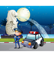A policeman and his patrol car near the statue of vector image vector image