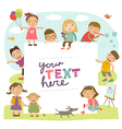 Background with cute kids vector image