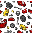 Car repair seamless pattern with service objects vector image