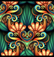 colored seamless pattern with floral ornament vector image