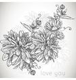 Floral monochrome background vector image