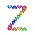 Letter Z made of multicolored hearts vector image