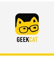 Logo geek concept cartoon stylized kitty with eye vector image