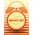 Orange Alarm Clock with text Wake up vector image