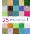 Polka dot paper Set of 25 seamess patterns vector image
