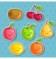 Set of cute kawaii smiling fruits stickers vector image