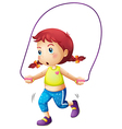 A cute little girl playing skipping rope vector image vector image