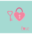Padlock and key in shape of heart Love card vector image