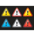 set hazard warning attention sign color vector image
