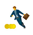 businessman running for gold bitcoins vector image
