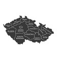 czech republic map labelled black vector image