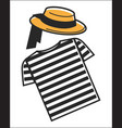 italy or venice gondolier shirt and hat symbols of vector image