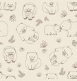 monochrome seamless pattern with funny wombats and vector image