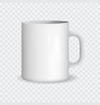 realistic white ceramic cup on a transparent vector image