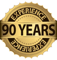 90 years of experience golden label vector image vector image