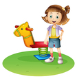 A girl standing beside a horse spring toy vector image