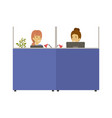 silhouette color cubicles workplace office with vector image