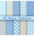 10 Wave different seamless patterns tiling vector image