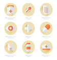 Flat icons set of medical tools 2 Color vector image