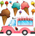Different flavor ice cream and a truck vector image