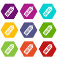 gmo free price tag i icon set color hexahedron vector image