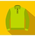 Green long sleeve polo shirt icon flat style vector image