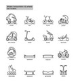 linear modern city transport icons set vector image