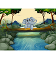 An elephant crossing the river vector image vector image