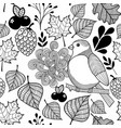 Black and white pattern bird on the branch and vector image
