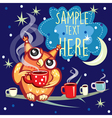 Cute Owl with cup of coffee vector image vector image