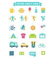 Festival Concert and Camping Flat Icons vector image