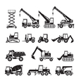 Construction Vehicles Objects Silhouette Set vector image