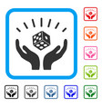 dice win hands framed icon vector image