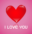 I Love You Red Heart on Pink Background vector image