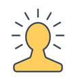 new bright idea in human head line icon vector image
