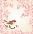 Seamless texture bird and sakura vector image