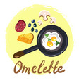 top view omellete cooking ingredients cartoon free vector image