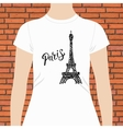 White Woman Shirt with Paris Text and Eiffel Tower vector image