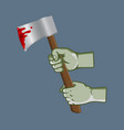 zombie hand grab bleeding ax vector image