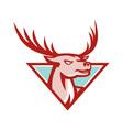 Deer Stag Buck Head Woodcut vector image