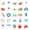 motor car icons set cartoon style vector image
