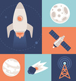 space icons in flat style vector image vector image