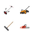 flat icon farm set of grass-cutter lawn mower vector image