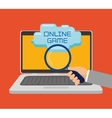 online game laptop search icon vector image